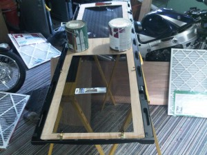 Wood frame to hold two 30 inch air filters