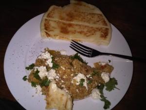 7:16pm Quinoa and naan bread
