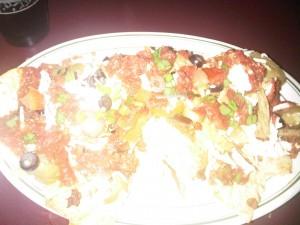 7:44pm Split some soy cheese vegan nachos