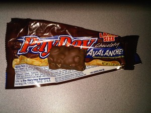 12:59pm Payday Avalanch candy bar