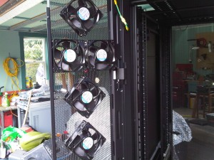 Brushless fans secured to rear doors